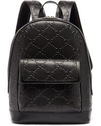Gucci GG テニス レザーバックパック - ブラック