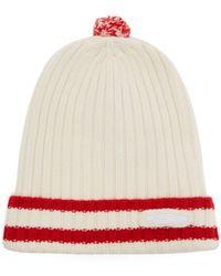 Prada - Ribbed-knit Striped Wool-blend Pom-pom Hat - Lyst
