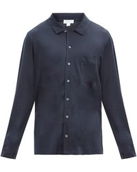 Sunspel Patch-pocket Cotton-blend Jersey Pajama Shirt - Blue