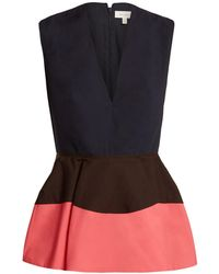 Delpozo Color Block Peplum Cotton Top - Blue