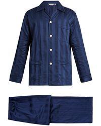 Derek Rose Lingfield Jacquard-stripe Cotton Pyjamas - Blue