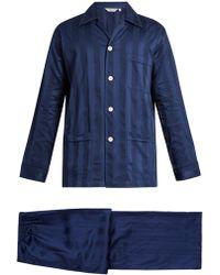 Derek Rose - Lingfield Shadow-stripe Cotton Pyjama Set - Lyst