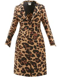 Bottega Veneta Leopard-jacquard Single-breasted Coat - Multicolour