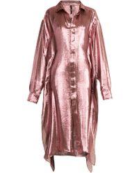 Paula Knorr Big Long Sleeved Silk Blend Lamé Shirt - Pink