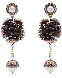 Erdem - Faux-pearl Flower-drop Clip-on Earrings - Lyst