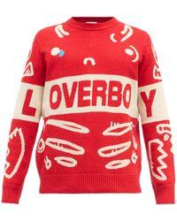 Charles Jeffrey LOVERBOY Pull en maille à jacquard logo - Rouge