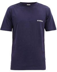 Vetements Logo-print Cotton-jersey T-shirt - Blue