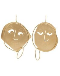 JW Anderson - Moon Face Gold-plated Earrings - Lyst