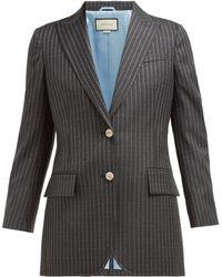 Gucci Logo Pinstripe Single Breasted Wool Twill Blazer - Gray