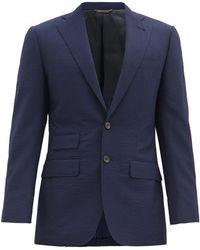 Thom Sweeney Single-breasted Wool-blend Seersucker Jacket - Blue