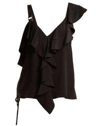 Proenza Schouler - Ruffle-trimmed Silk Crepe De Chine Top - Lyst