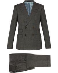 Gucci Costume en laine à double boutonnage - Gris