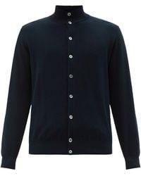 Thom Sweeney Stand-collar Cotton-piqué Cardigan - Blue