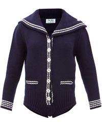 Miu Miu Sailor-collar Lambswool Bodysuit - Blue