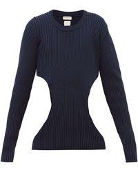 Bottega Veneta Cut-out Ribbed Cotton-blend Jumper - Blue