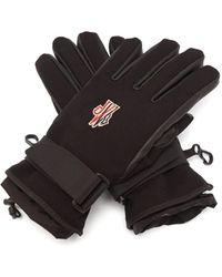 3 MONCLER GRENOBLE Gants en cuir et tissu imperméable à logo - Noir