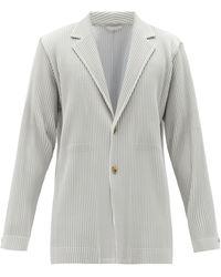 Homme Plissé Issey Miyake Single-breasted Tech-pleated Knit Blazer - Grey