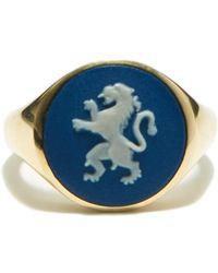 Ferian Chevalière en or 9 carats à camée Lion Wedgwood - Bleu