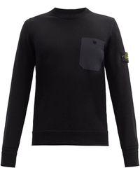 Stone Island Pull en coton à empiècement logo - Noir
