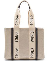 Chloé Chloé ウッディ スモール キャンバストートバッグ - ナチュラル