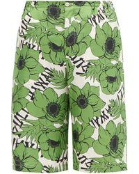 Gucci フローラル シルクショートパンツ - グリーン
