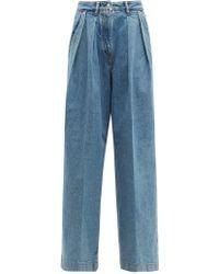 Acne Studios Pakita High Rise Pleated Wide Leg Jeans - Blue