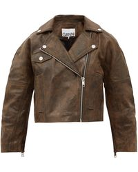 Ganni オーバーサイズ レザーライダースジャケット - ブラウン