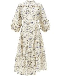 Apiece Apart - Gracia Floral-print Ruffle-trimmed Silk Midi Dress - Lyst