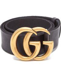 Gucci Ceinture en cuir à logo GG - Noir