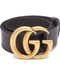 Gucci Snakeskin Effect Gg Logo Leather Belt - Black