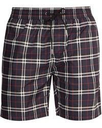 Burberry Check-print Swim Shorts - Blue
