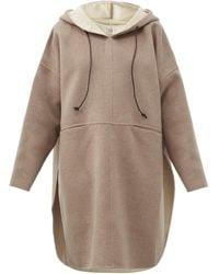 Totême Hooded Wool-blend Felted-flannel Poncho - Natural