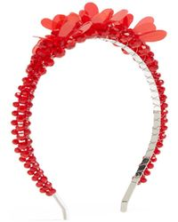 Simone Rocha Floral Crystal Bead Headband - Red