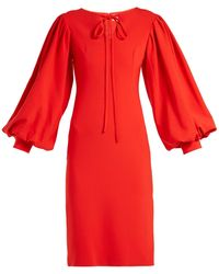 OSMAN - Maxine Blouson-sleeve Crepe Dress - Lyst