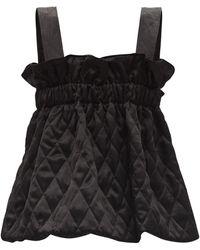 Noir Kei Ninomiya Buckled-strap Quilted-satin Top - Black