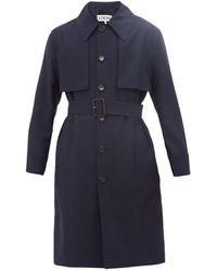 Loewe Wool Belted Trench Coat - Blue