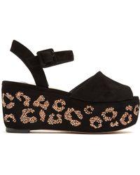 Sophia Webster - Suki Crystal-embellished Suede Flatform Sandals - Lyst