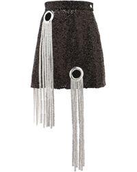 Germanier Chainmail-tassel Sequinned Mini Skirt - Black