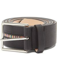 Paul Smith Signature-stripe Grained-leather Belt - Black
