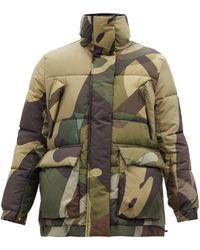 Sacai X Kaws Camouflage-print Padded Jacket - Green
