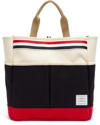 Thom Browne Logo-patch Cotton-canvas Tote - Natural
