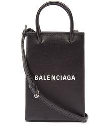 Balenciaga ショッピング ミニ レザーバッグ - ブラック