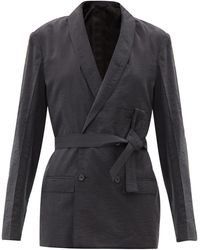 Lemaire Double-breasted Silk-blend Jacket - Gray