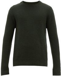 Allude Ribbed Crew Neck Cashmere Sweater - Green