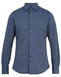 Glanshirt Spread-collar Cotton-chambray Shirt - Blue