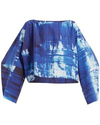 Issey Miyake Brush Stroke Print Cotton Blend Cropped Top - Blue