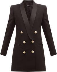 Balmain Double Breasted Crepe Blazer Dress - Black