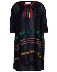 Sonia Rykiel - - Tie Neck Embroidered Linen Blend Dress - Womens - Navy Multi - Lyst