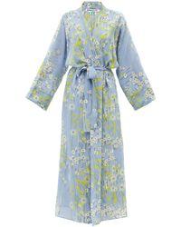 BERNADETTE Buttercupfield Floral Silk-crepe De Chine Robe - Blue