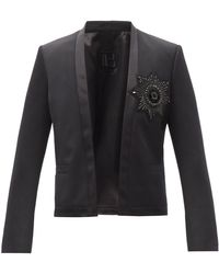 Balmain - クリスタルバッジ ウール シングルジャケット - Lyst